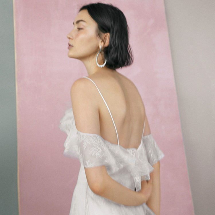 theia ava off the shoulder gown
