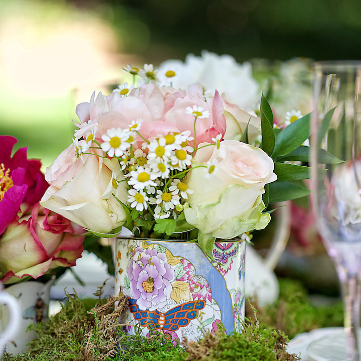 English garden tea party centerpieces