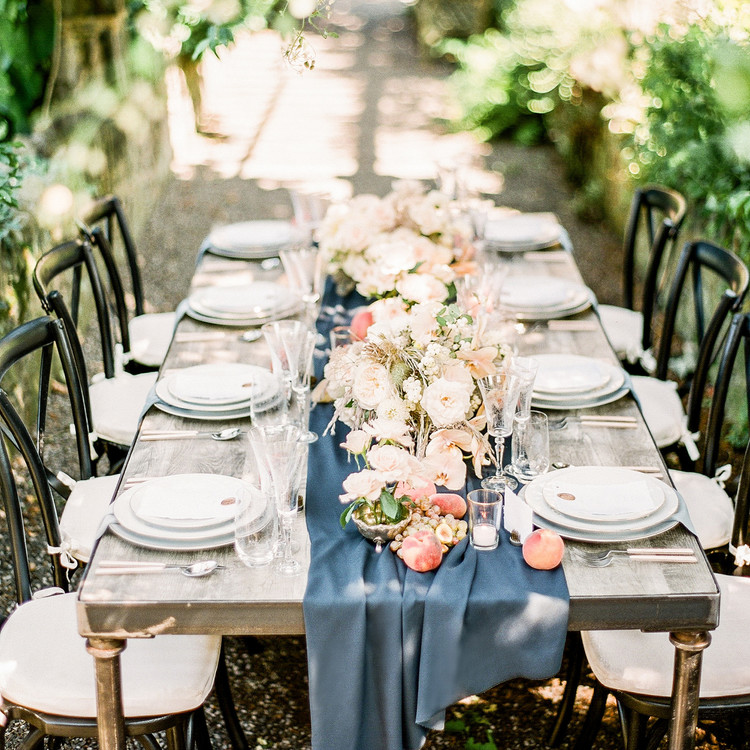 Navy and White Wedding inspiration Shoot at Wave Hill, Wooden Table with Blue Runner