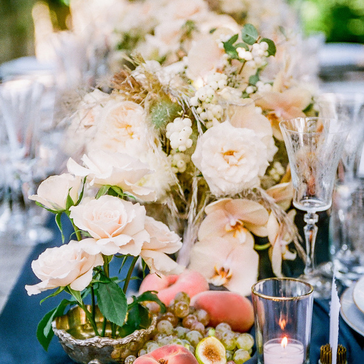Navy and White Wedding inspiration Shoot at Wave Hill, Centerpieces with Flowers and Fruit