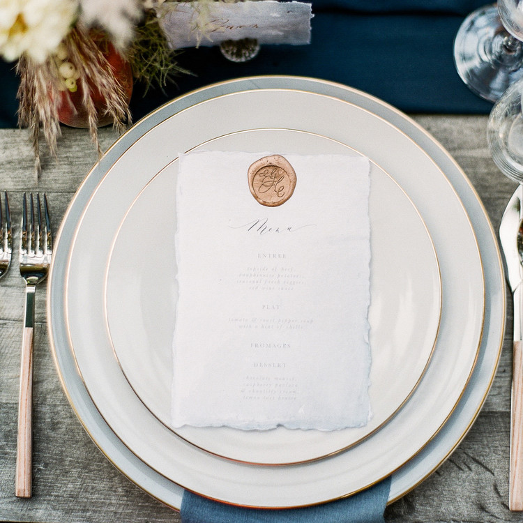 Navy and White Wedding inspiration Shoot at Wave Hill, Menu with Seal Detail