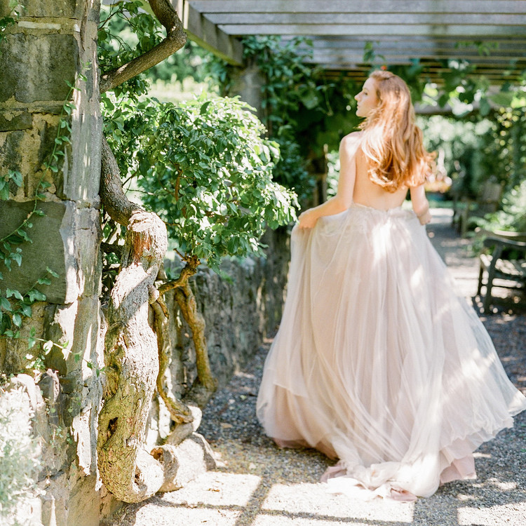 Navy and White Wedding inspiration Shoot at Wave Hill, Bride Walking in Gardens